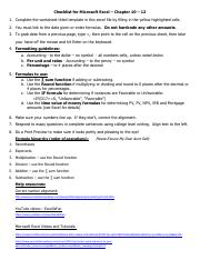 Checklist for Microsoft Excel - Chapter 10 - 12 S18.pdf