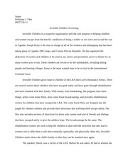 essay about invisible children