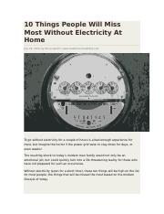 10 Things People Will Miss Most Without Electricity At Home.docx