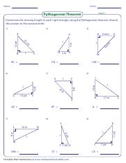 Pythagorean Theorem 06 Pdf Name Score Sheet 1 Pythagorean Theorem Determine The Missing Length In Each Right Triangle Using The Pythagorean Theorem Course Hero