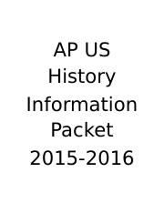AP US History Information Packet.doc