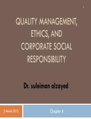 QM Chapter 4-QUALITY MANAGEMENT, ETHICS, AND CORPORATE SOCIAL RESPONSIBILITY