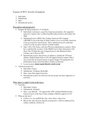 Class notes- Causes of 9-11