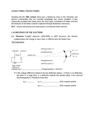 Lecture 2 Notes Electron Studies