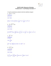 Solutions for Problem Set 10 (Substitution Method)
