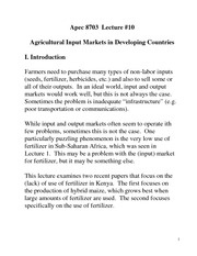 Agricultural Input Markets Notes