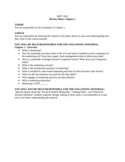MKT 3010 Review Sheet Ch. 1: Overview of Marketing