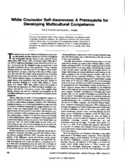 White Counselor Self-Awareness_A Prerequisite for Developing Mulicultural Competence