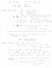MATH 2030 Spring 2015 Lecture 1 - Revision, Taylor Series & Complex Numbers Notes