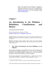 An Introduction to AIr Pollution - Definition, Classifications and History