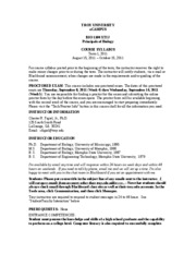 BIO1100 Term 1,2011 Syllabus