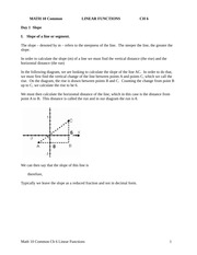 Ch 6 Linear Functions Notes