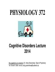 12- Cognitive Disorders Lecture