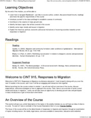 CINT915, Module 1 - Why is Studying Migration Important