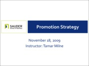 Nov 18 - Promotion Strategy, Part II
