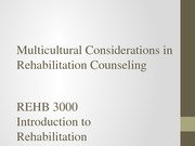 Multicultural Considerations in Rehabilitation Counseling - Rehab 3000