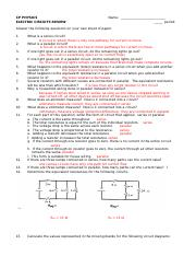 Electric Circuits Review WS - Answers