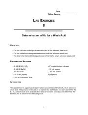 Ka Determination of a Known Acid