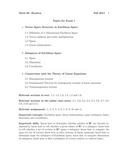MATH 60 Fall 2014 Midterm 1 Study Guide Topics