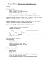 Lecture 2 Notes Classical Chemistry Equations
