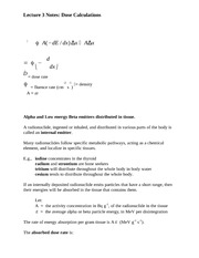 Lecture 3 Notes Dose Calculations
