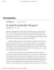 Is Junk Food Really Cheaper_ - The New York Times