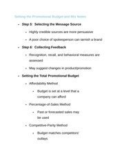 Setting the Promotional Budget and Mix Notes