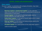 CAPITAL, SHARES AND SHAREHOLDERS
