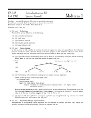 Computer Science 188 - Fall 1993 - Russell - Midterm 1