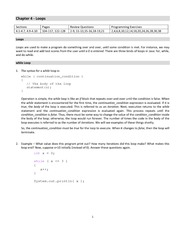 Lecture Notes on Loops