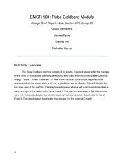 ENGR 101: Rube Goldberg Module Design Brief Report – Lab Section 074, Group 05
