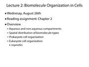 Lecture 02; Cell Biology