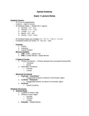 ANAT 1607 Spinal Anatomy Exam 1 Lecture Notes (Dr. Hassani)