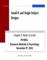 Lecture 9 Small N and Single Subject Designs