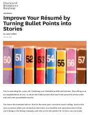 Improve Your Résumé by Turning Bullet Points into Stories