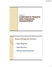 1 corporate finance and financial management