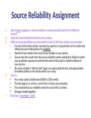 Source Reliability Assignment