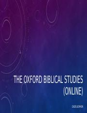 THE OXFORD BIBLICAL STUDIES ONLINE REVIEW.pptx
