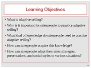 Chapter 5 - Adaptive Selling for Relationship Building