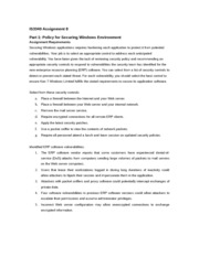 IS3340 Unit 8 Assignment - Policy for Securing Windows Environment (Part 1)