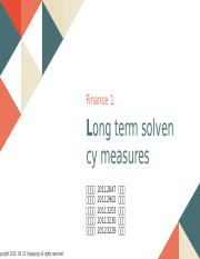 Long term solvency measures