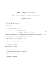 Linear Programming, Geometry, and Standard notes