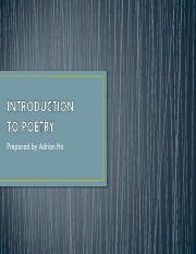 Introduction to Poetry Lecture