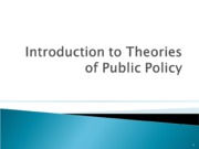 Theories of Public Policy