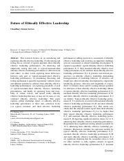 Future of Ethically Effective Leadership - ProQuest