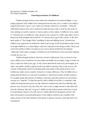 childhood university of medicine and dentistry of new jersey 4 pages visual representations of childhood essay