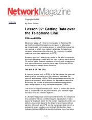 Getting Data over the Telephone Line