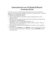 Instructions for use of Chemical Hazard Awareness Form