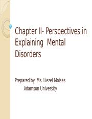 Chapter II- Perspective in Explaining Mental Disorder
