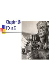 Chapter 18 - Input and Output